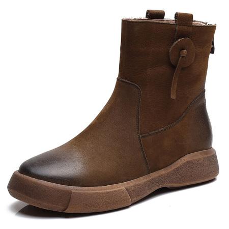 蒂朵雅 真皮英伦风女鞋厚底平底短靴女靴l002302-3559·卡其薄绒