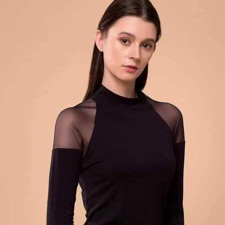 高品质德绒恒温无痕贴身保暖上衣-小高领黑色--140斤可穿!  小高领黑色