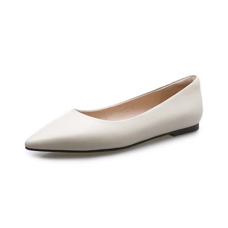 奈绮儿Naiyee 平底尖头浅口简约单鞋女鞋子·MMLR-M661米白色