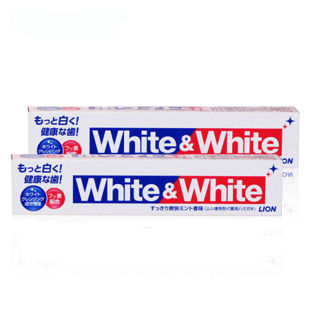 香港直邮 LION狮王WHITE&WHITE美白牙膏150ml*2支