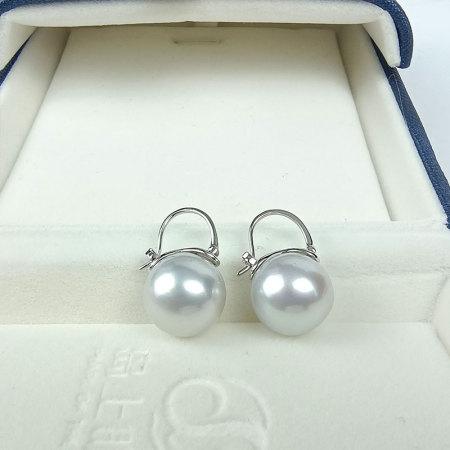 岛上明珠 澳洲海水冷光澳白珍珠18k金耳扣12-13mm·澳白