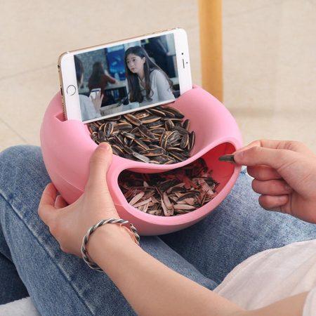 塑料懒人果盘 创意双层干果果皮瓜子水果盘 糖果瓜子盘·粉色