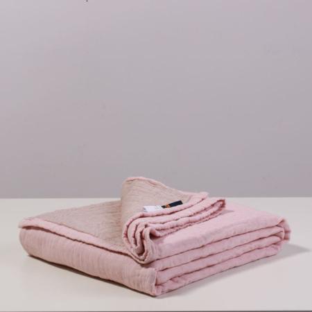 三利夏季全棉纱布盖被空调被·9款可选!精选新疆长绒棉! 4层绵柔!透气吸湿!  素色粉