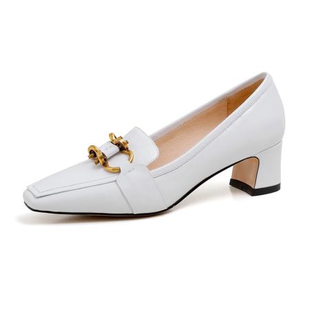 奈绮儿牛皮浅口方头单鞋女鞋·XHY-8810白色