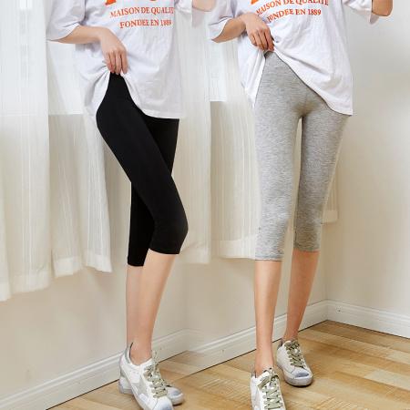 超值2条!适语轻薄莫代尔七分裤两件组·灰色+黑色