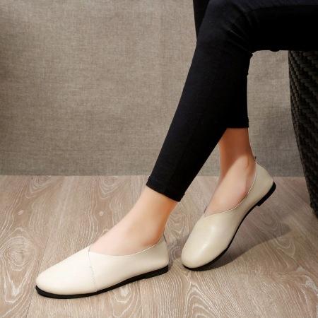 2021新款手工纯牛皮乳胶垫女士休闲鞋·米色