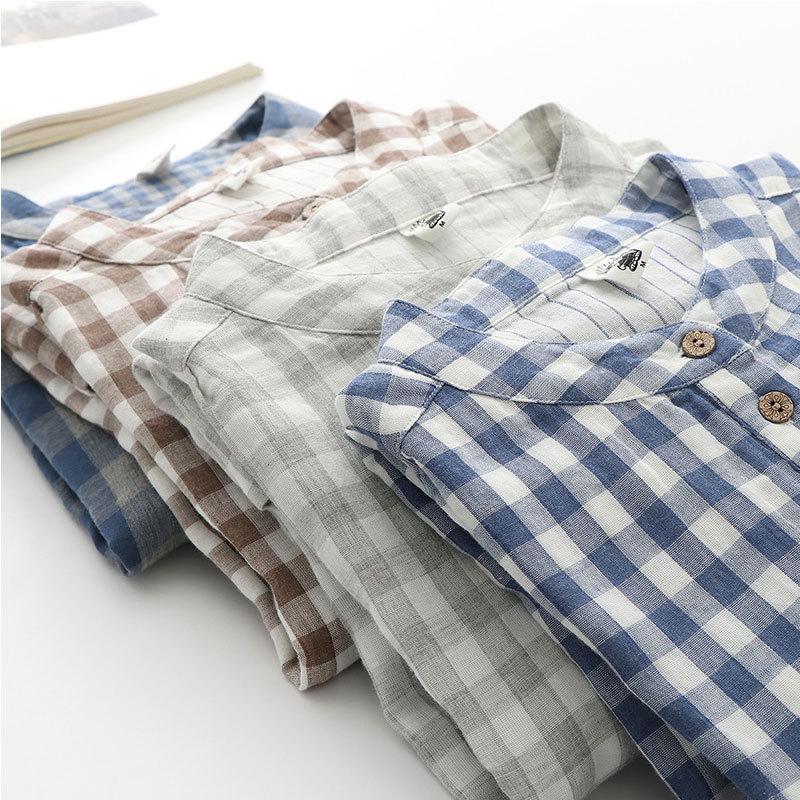 谜存 100%婴儿棉双层纱宽松简约格子灯笼袖衬衫·深蓝大格