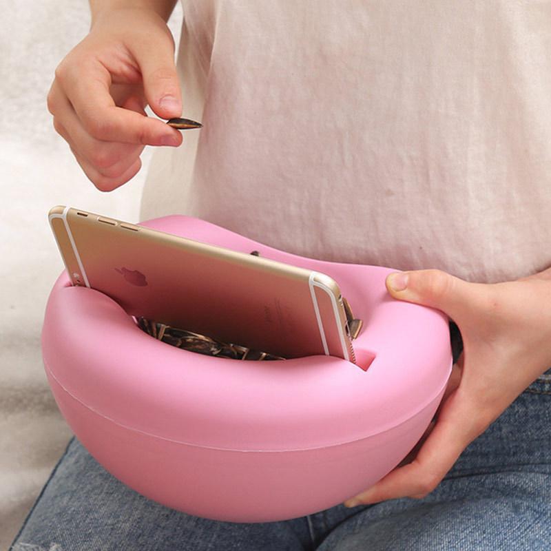 塑料懒人果盘 创意双层干果果皮瓜子水果盘 糖果瓜子盘·蓝色