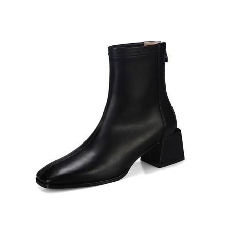 奈绮儿 牛皮PU粗跟弹力靴短靴女靴·NQE-D61黑色
