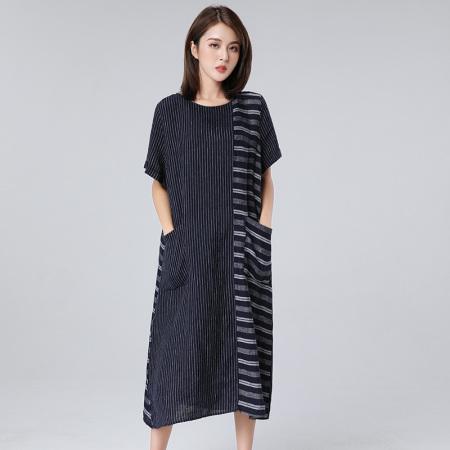 方知 大码女装100%亚麻条纹不规则拼接长款连衣裙D291   藏蓝