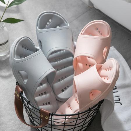 Home story 日式实感月牙型漏水居家拖鞋·裸粉