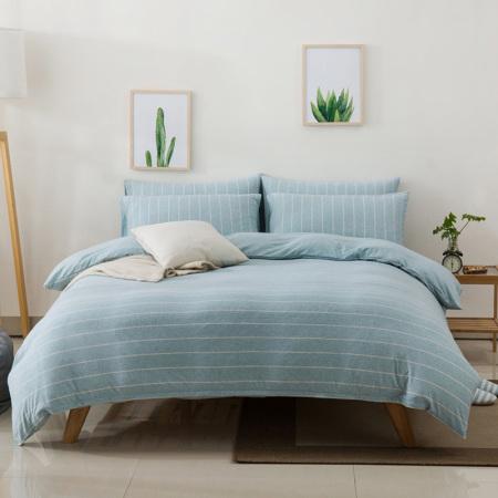 凯特之家天竺四件套床笠款1.5m/1.8m·水绿宽条  水绿宽条