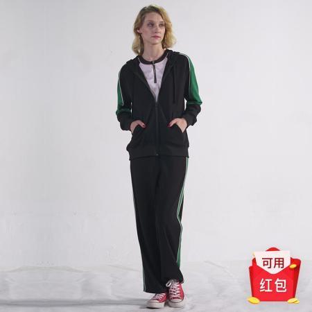 Prolivon时尚拼接针织运动套装·黑色绿白条纹
