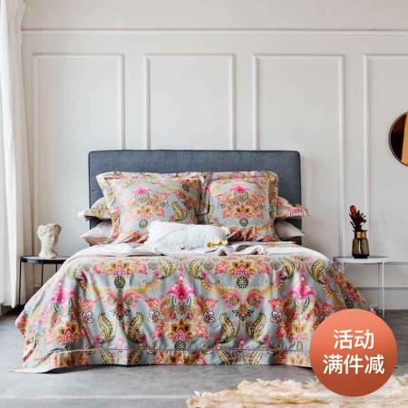莱薇 昭华系列全棉缎纹60支长绒棉印花花边四件套200*230cm·赫伯特1.5米