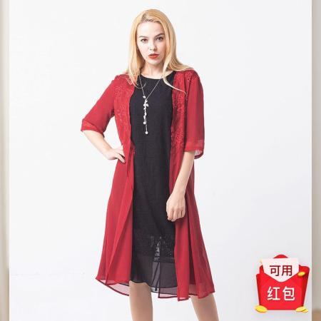 恒源祥FAZEYA立体绗绣真丝女裙·主品黑色+赠品红色(女)