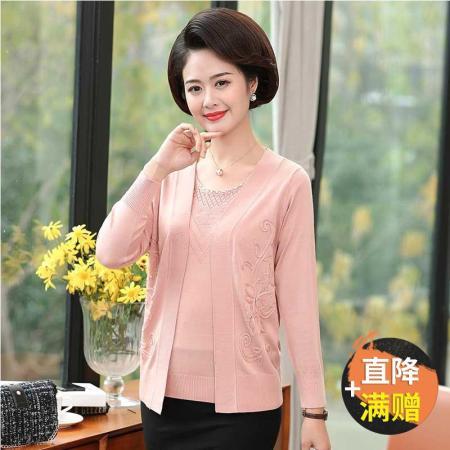气质妈妈冰丝针织水钻长袖开衫两件套套装7312(三色可选)·桔色