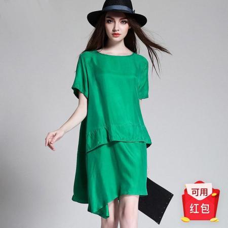 2019夏季瑅艾大码时尚宽松遮肉铜氨丝连衣裙(五色可选)·绿色