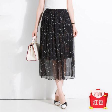 金菊 2019夏季新款真丝半身裙---7色可选·黑花色