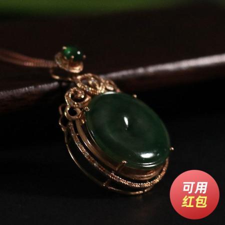 曼丽翠18K金镶钻平安扣吊坠两款可选·深绿款