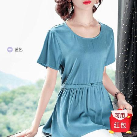2019新款短袖铜氨丝T恤女圆领大码宽松裙摆收腰中长款上衣---3色可选·蓝色