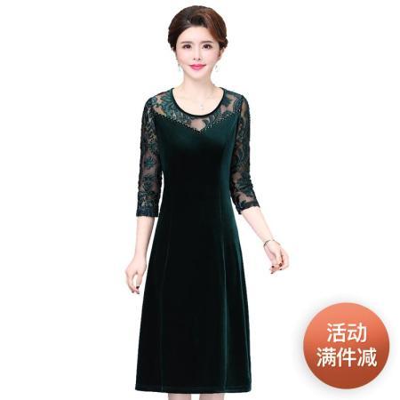 洛卡曼高档丝绒连衣裙·绿色