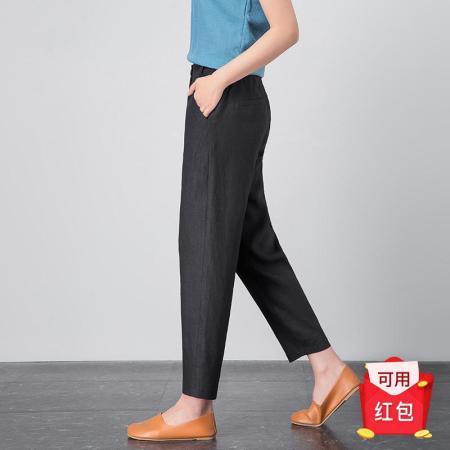 漫丽依夏季时尚亚麻薄款九分萝卜裤·黑色  1802