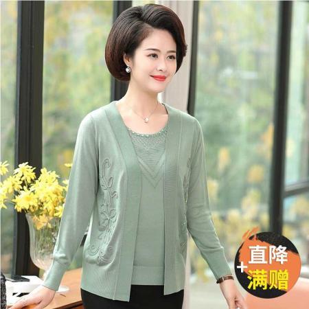 气质妈妈冰丝针织水钻长袖开衫两件套套装7312(三色可选)·绿色