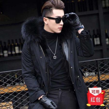 意大利富铤 中长款连帽加厚保暖可拆派克服保暖卸毛领男派克服--3款可选·长款黑色