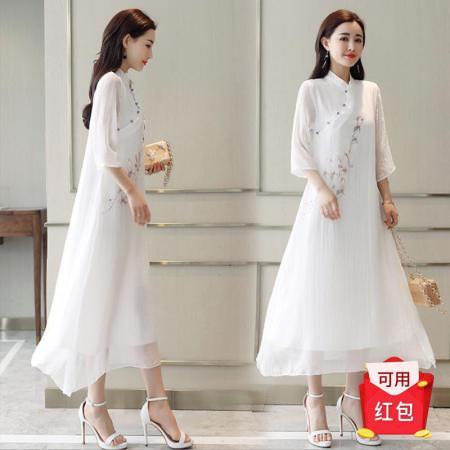 民族风禅意改良旗袍汉服长裙茶服·定位印花!双层不透!个性新颖!白色