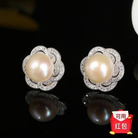 京珠部落s925银天然珍珠六瓣花耳钉耳饰  共同